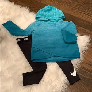 Nike stretch pants with fleece shirt